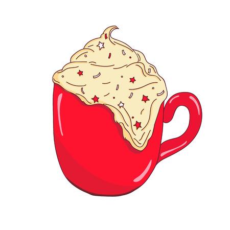 Christmas warming beverage. Vector illustration. Vector coffee.