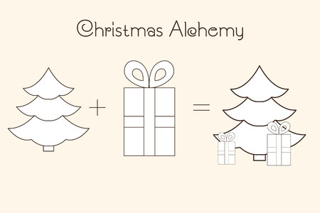 Thin line icons of Christmas time and X-mas elements. Christmas Alchemy. Linear collection. Illustration