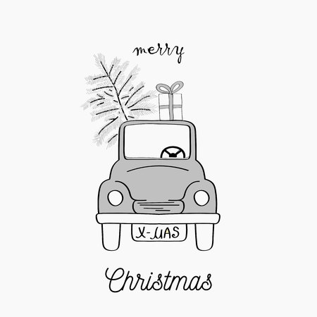 Hand drawn Christmas card. Merry Christmas and New Year typography. Cute holidays greeting card, invitation, poster and templates. Black and white Christmas card. Vector illustration