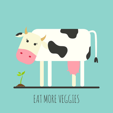 Flat cow with sprout. Flat cow icon. Eat more veggies. Vector illustration Ilustração
