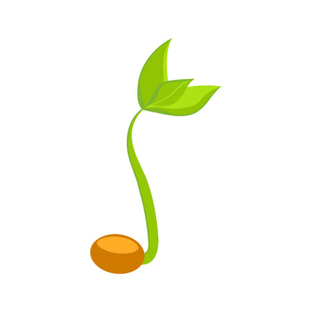 Simple sprouting seed drawing. Vector illustration Ilustração