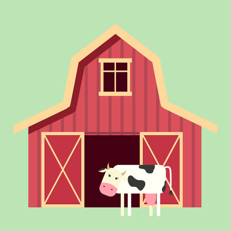 Red wooden farm barn in flat style with cow. Agricultural building for livestock or equipment. Vector illustration.