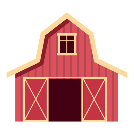 Red wooden farm barn in flat style. Agricultural building for livestock or equipment. Vector illustration.