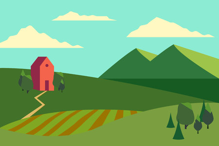 Vector illustration of fields landscape with a green hills, blue sky, farmhouse and forest in flat style