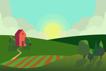Vector illustration of fields landscape with a green hills, blue sky, and forest in flat style. Rural landscape. Vector illustration