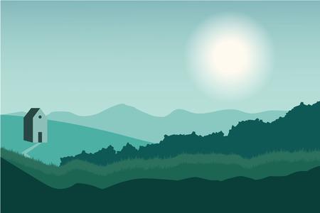 Nature landscape in flat style. Vector landscape. Mountains. Vector illustration Ilustração
