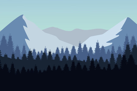 Nature landscape in flat style. Vector landscape. Mountains. Vector illustration Illustration