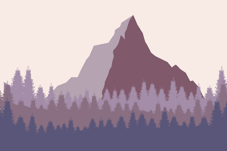 Nature landscape in flat style. Vector landscape. Mountains. Vector illustration 일러스트