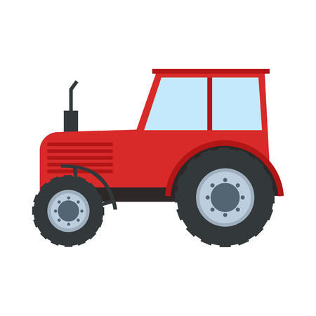 Tractor in flat style. Red tractor isolated on white. Vector illustration