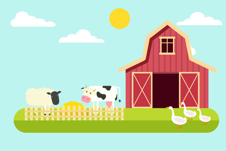 Agriculture and Farming. Rural landscape. Vector illustration Ilustração