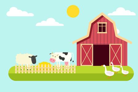 Agriculture and Farming. Rural landscape. Vector illustration Illustration