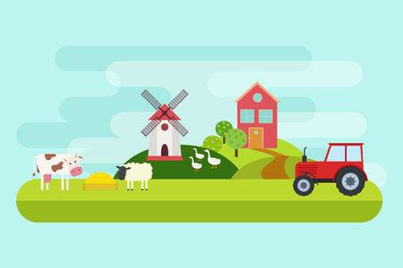 Agriculture and Farming. Rural landscape. Vector illustration 矢量图像