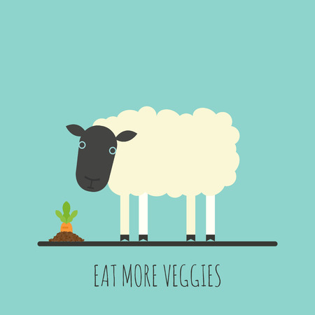 Flat sheep with sprout. Flat sheep icon. Eat more veggies. Vector illustration Ilustração