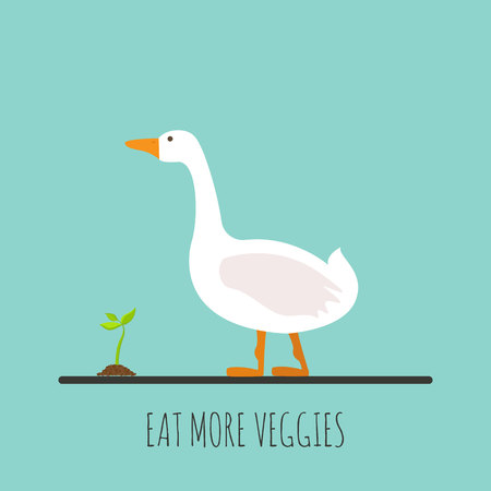 Flat goose with sprout. Flat goose icon. Eat more veggies. Vector illustration