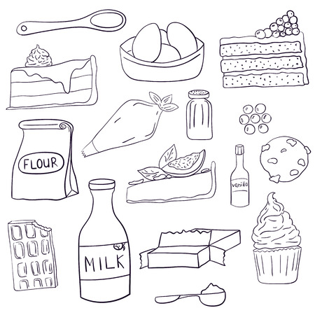 Hand drawn set of baking ingredients and desserts. Cake, chocolate and cookie. Vector illustration