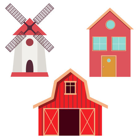 Red barn, windmill and farm house in flat style. Vector illustration Ilustração