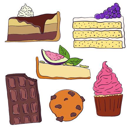 Hand drawn sweet cakes slices set vector illustration. Doodle illustration. Cake pieces, chocolate, cokie and sweets in doodle style. Vector illustration Illustration