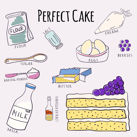 Vector hand drawn perfect cake recipe. Doodle illustration. Cake recipe in doodle style. Vector illustration