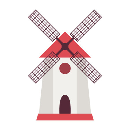 Windmill and farm house in flat style. Vector illustration Illustration