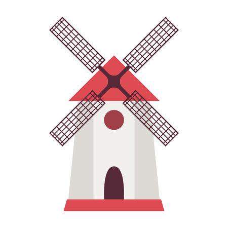 Windmill and farm house in flat style. Vector illustration Ilustração