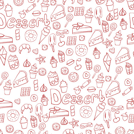 Doodle illustration of desserts and pastries. Hand drawn vector illustration made in cartoon style. Sweets and desserts 矢量图像