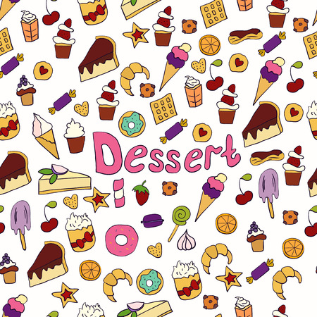 Doodle illustration of desserts and pastries. Hand drawn vector illustration made in cartoon style. Sweets and desserts Ilustração