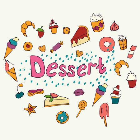 Ręcznie rysowane napis plakat z deserami i słodyczami. Desery. Ilustracja wektorowa. Koncepcja wektor dla menu deserowego restauracji Ilustracje wektorowe