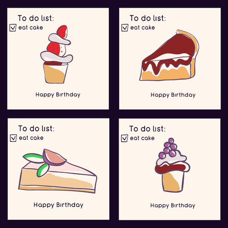 Set of birthday greeting cards. Doodle style collection of cakes. Sweets and pastries. Vector illustration