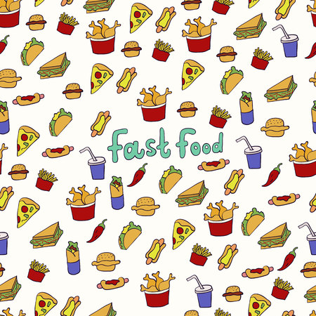 Doodle illustration of fast food. Seamless pattern with junk food. Hand drawn vector illustration made in cartoon style. Hamburger, hot-dog, french fries, sandwich.