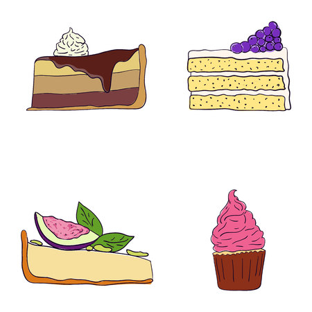 Hand drawn sweet cakes slices set vector illustration. Doodle illustration. Cake pieces, chocolate, cokie and sweets in doodle style. Vector illustration