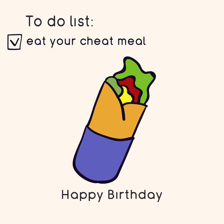 Doodle illustration of fast food. Junk food. Eat your cheat meal. Funny birthday card. Hand drawn vector illustration made in cartoon style