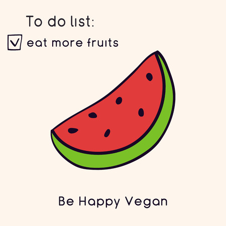 Happy Vegan day card. Doodle style illustration. Greeting card with inscription Be Happy Vegan. Go vegan cards. Fruits. Vector illustration Ilustração