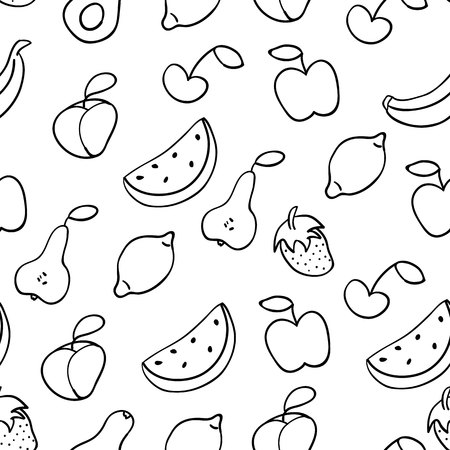 Doodle illustration of fruits. Seamless pattern with fruits. Hand drawn vector illustration made in cartoon style. Apple, banana, watermelon, peach, strawberry, pear, lemon