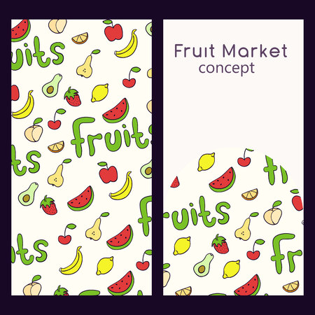 Vector logo design template and seamless pattern in doodle style for packaging. Fruit market concept. Vector illustration