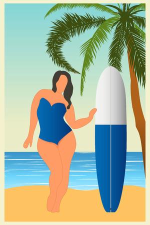Tropische Landschaft. Meerlandschaft Sommerhintergrund Mädchen mit Surfbrett Flat Style Illustration. Palmen.