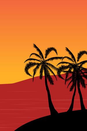 Tropical landscape Summer background. Palm trees silhouette. Vector illustration Vector Illustratie