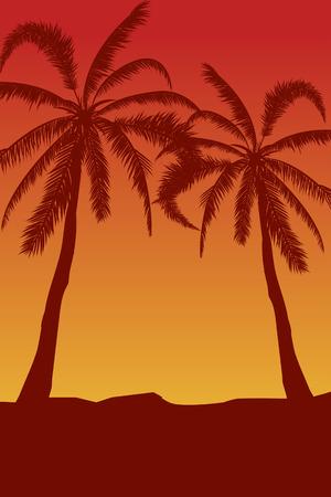 Tropical landscape Summer background. Palm trees silhouette. Vector illustration Vektorové ilustrace