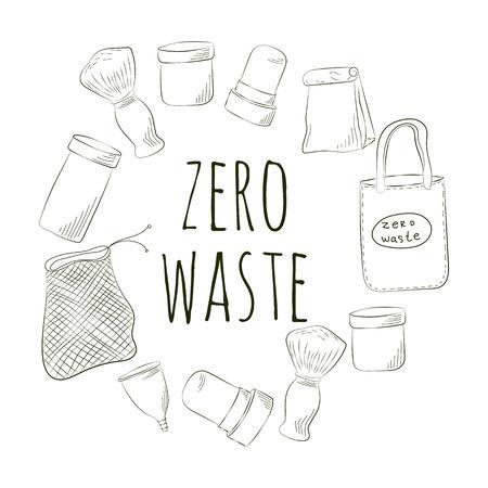 Zero Waste Concept. Hand drawn elements of zero waste life. Vector illustration.