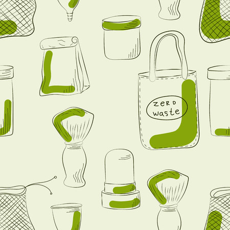 Zero Waste Concept Hand drawn elements of zero waste life. Vector illustration. Imagens - 124976186