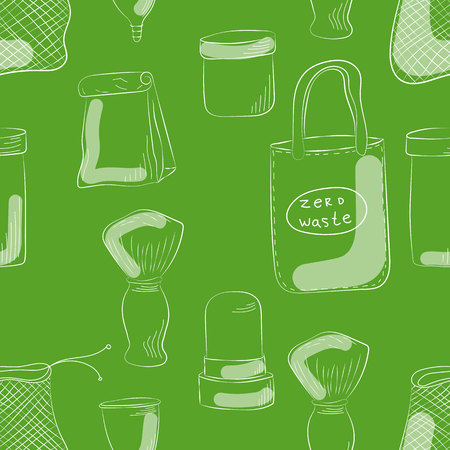 Zero Waste Concept Hand drawn elements of zero waste life. Vector illustration.