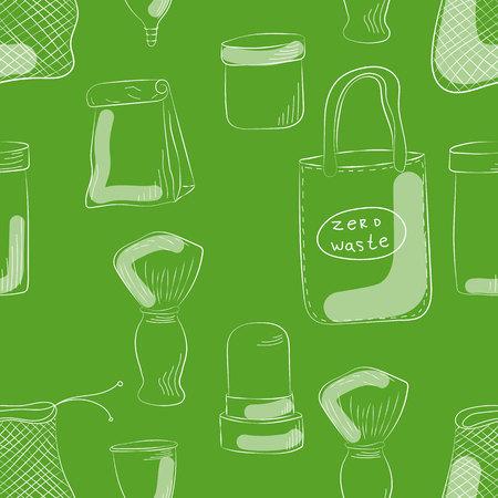 Zero Waste Concept Hand drawn elements of zero waste life. Vector illustration. Imagens - 124976187