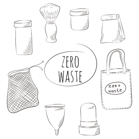 Zero Waste Concept Hand drawn elements of zero waste life. Vector illustration. Banque d'images - 124976192