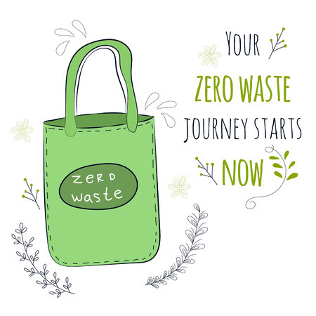 Zero Waste Concept Hand drawn elements of zero waste life Zero waste concept card. Good for posters, banners, web design, cards. Vector illustration. Vektoros illusztráció