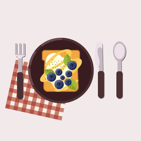 Toast with bog bilderries and cream cheese served on a plate with fork, knife, spoon and napkin Healthy food Vector illustration 向量圖像