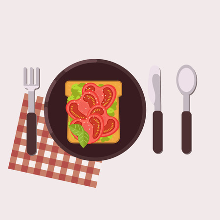 Toast with tomato and avocado served on a plate with fork, knife, spoon and napkin Healthy food Vector illustration