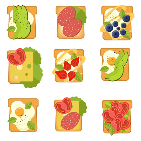 Set of sandwiches with different ingredients. Toast with avocado, salami, cheese, salmon, berries, strawberry, fig Healthy food Vector illustration.