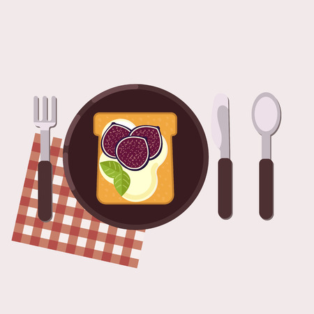Toast with fig and cream cheese served on a plate with fork, knife, spoon and napkin Healthy food Vector illustration