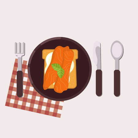 Toast with cream cheese, salmon and basil served on a plate with fork, knife, spoon and napkin Healthy food Vector illustration. 向量圖像