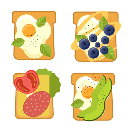 Set of sandwiches with different ingredients Toast with avocado, salami, cheese, salmon, berries, strawberry, fig Healthy food. Vector illustration 向量圖像
