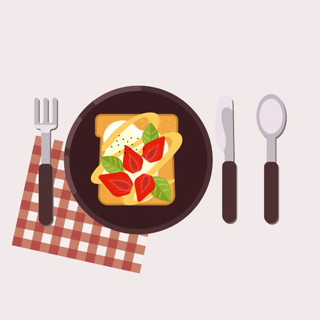 Toast with strawberry and cream cheese served on a plate with fork, knife, spoon and napkin Healthy food Vector illustration